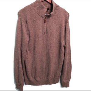 J Crew Mens 1/4 ZIP Sweater, Gray Large